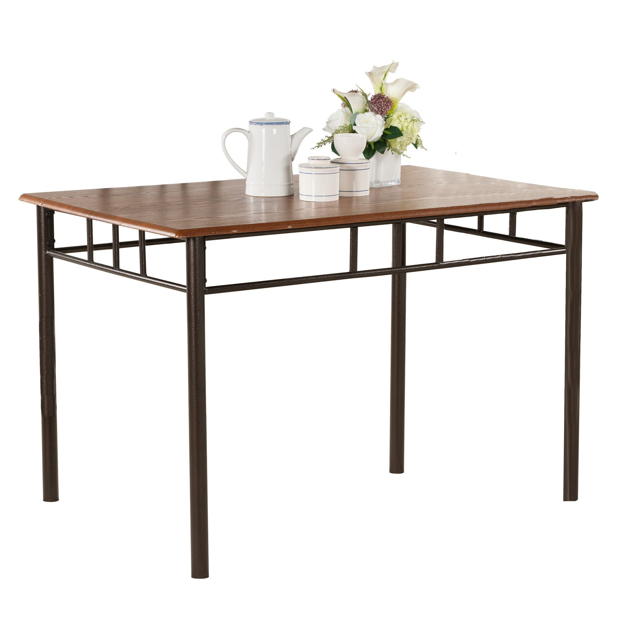 Pilaster Designs - Metal Frame With Cherry Finish Wood Top Rectangular Dining Room Kitchen Table