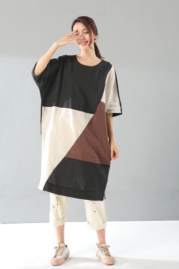 bc43c03d9e Color Block Half Sleeve Linen Clothing Plus Size Casual Long T-shirt   tshirt  tee  colorblock  casual  linen  summer  plussize  loose  boutique   maternity   ...