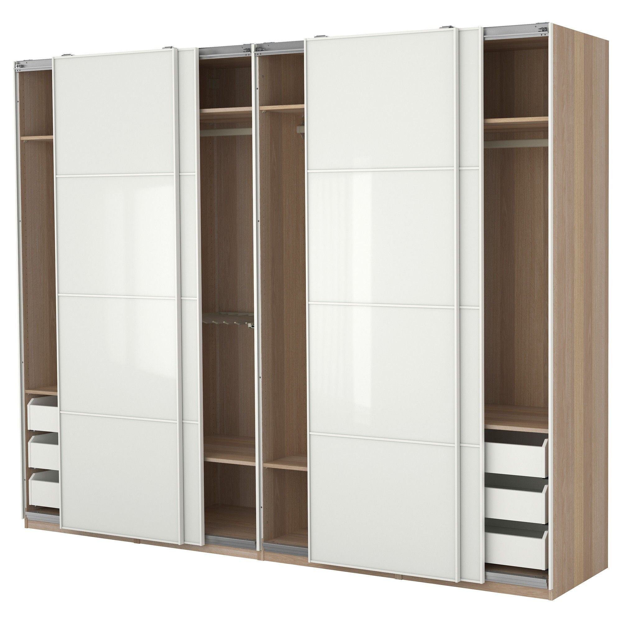 Interior Large Brown Wooden Closet With White Wooden Sliding