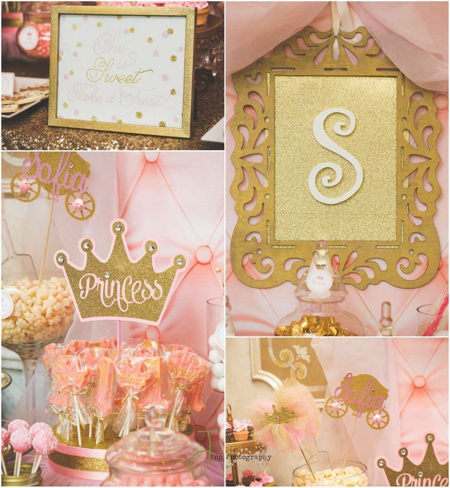 pink and gold princess first birthday party! See