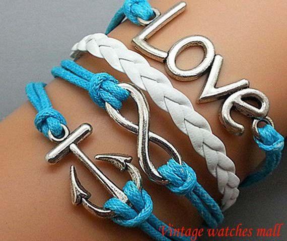 Charm love BraceletAnchor bracelet infinity by Vintagewatchesmall, $5.99