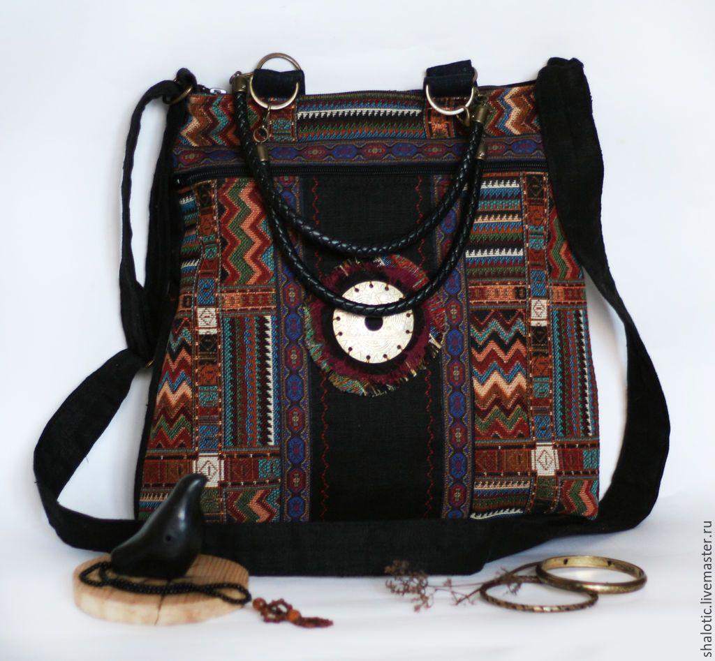 fed60ca34d7f Купить Льняная бохо сумка