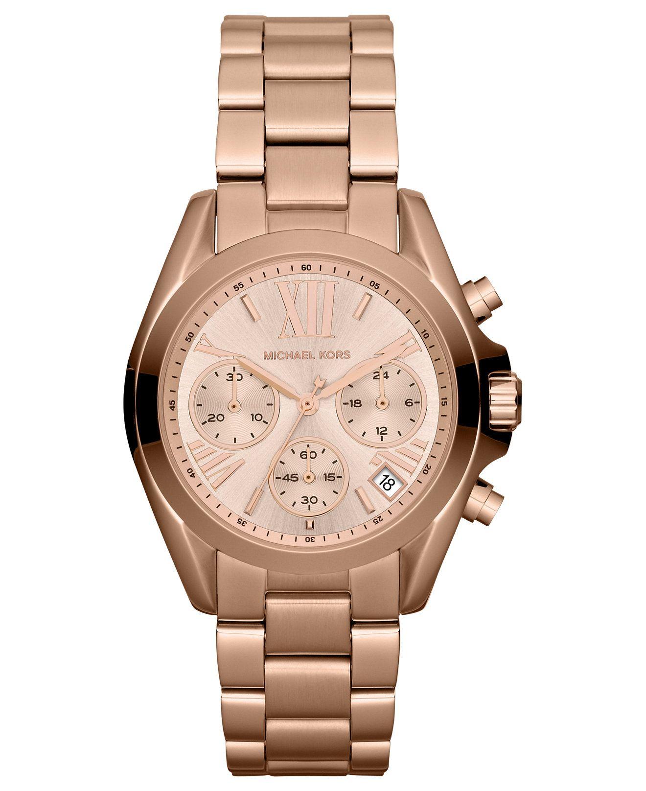 3dee93edf542 Michael Kors Women s Chronograph Mini Bradshaw Rose Gold-Tone Stainless  Steel Bracelet Watch 35mm MK5799 - Watches - Jewelry   Watches - Macy s