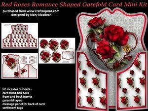 Red Roses Romance Shaped Gatefold Card Mini Kit