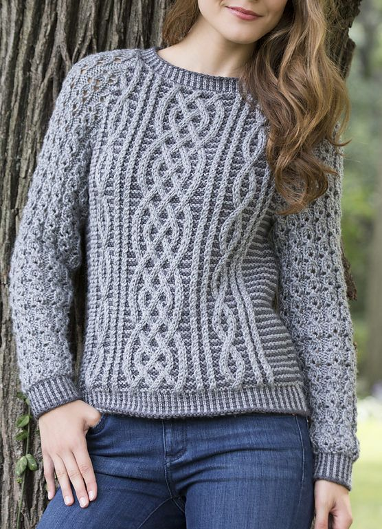 32d20b478f2eb2 Free Knitting Pattern for Two Tone Cable Sweater - This long-sleeved  pullover uses a lighter shade of yarn for the cables to make them stand out.