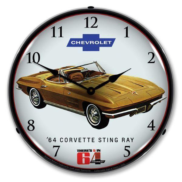 1964 Corvette Sting Ray Led Backlit Clock Wall Clock Light Corvette Corvette Stingray