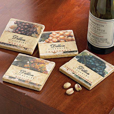 Personalized Vineyard Coasters Set Of 4 Wine Coasters Wine Label Crafts Coaster Set