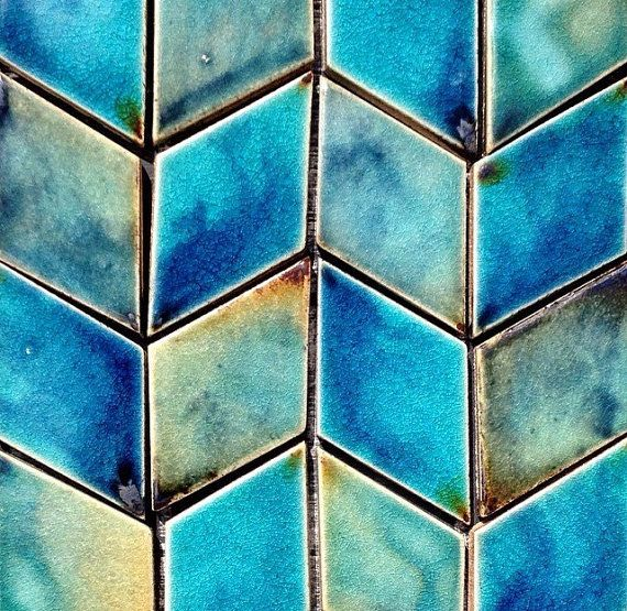 Diamond Shaped Handmade Ceramic Wall Tiles In Vibrant Blues Diamond Tile Wall Tiles Handmade Tiles