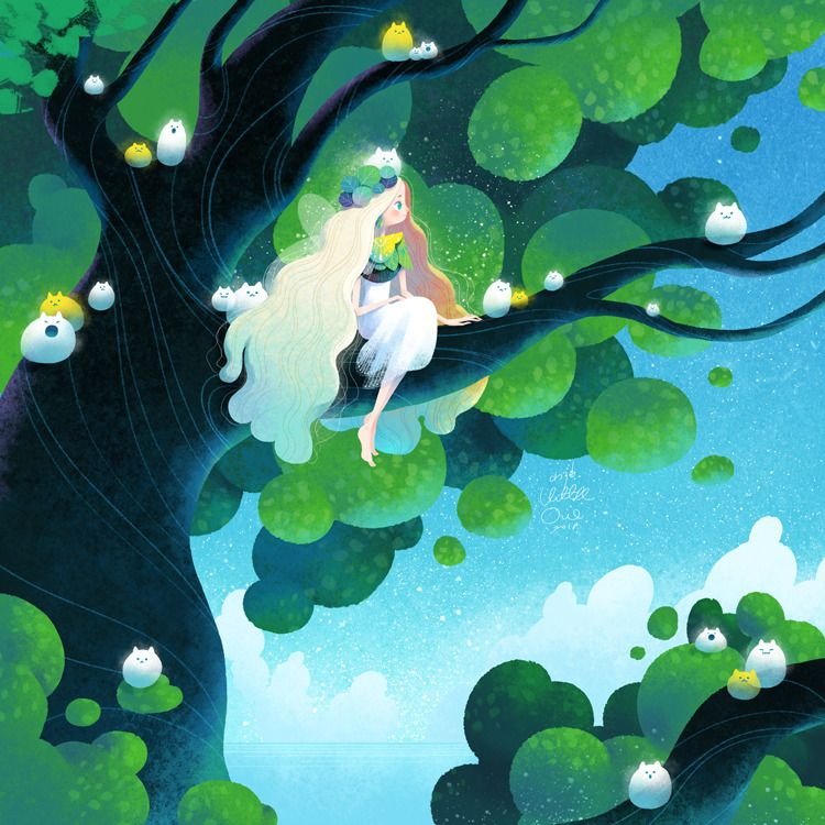Little Oil Art — Tree fairy in summer || littleoil on Tumblr ...