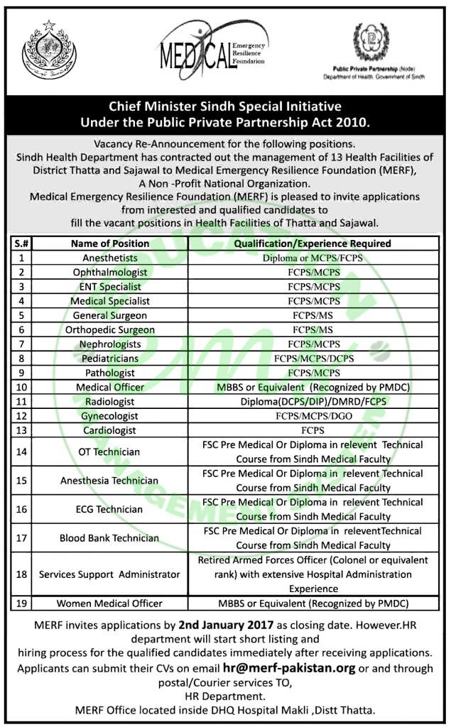 jobs in medical emergency resilience foundation sindh dec 2016