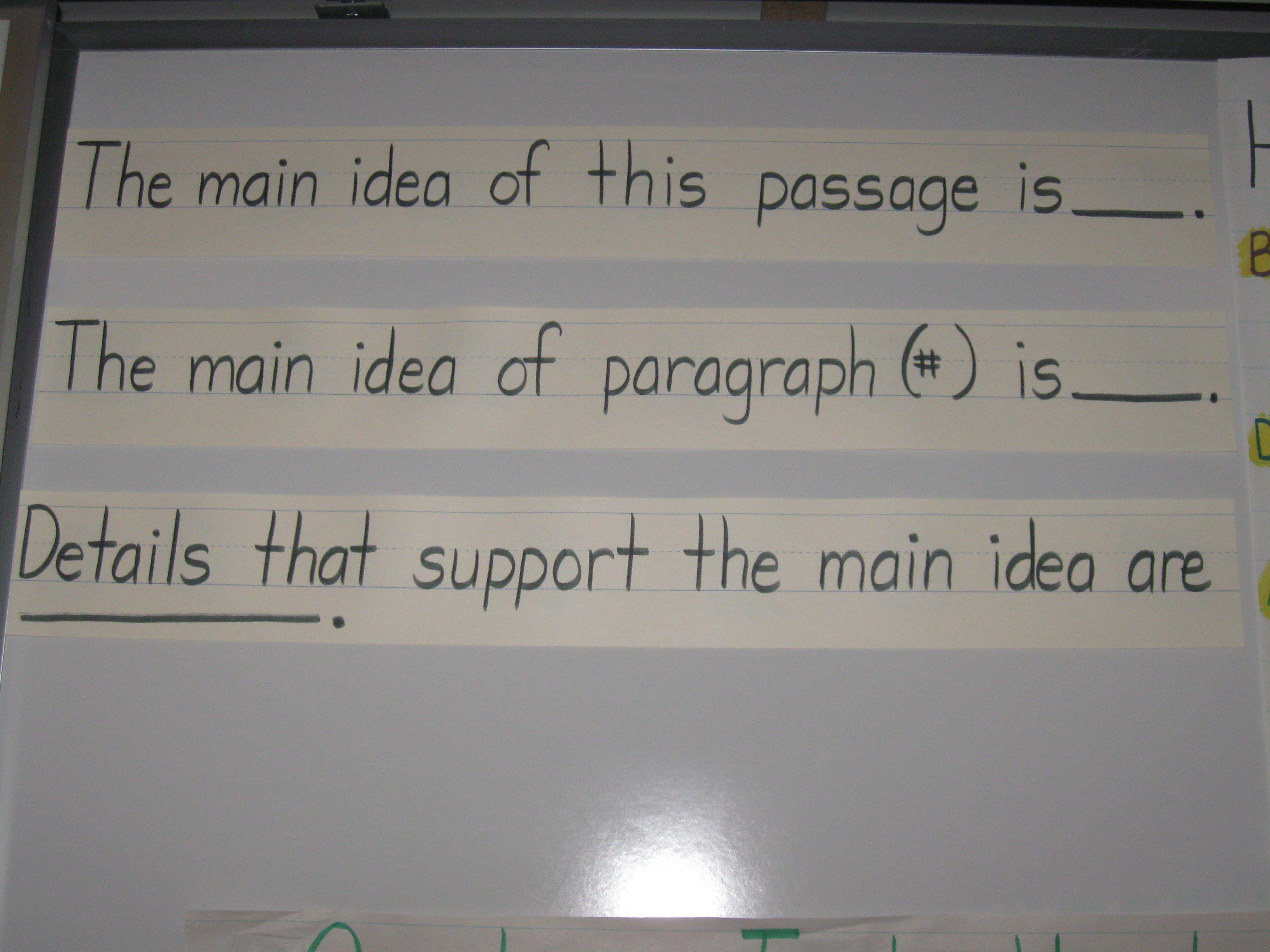 Main Idea Sentence Frames Grade