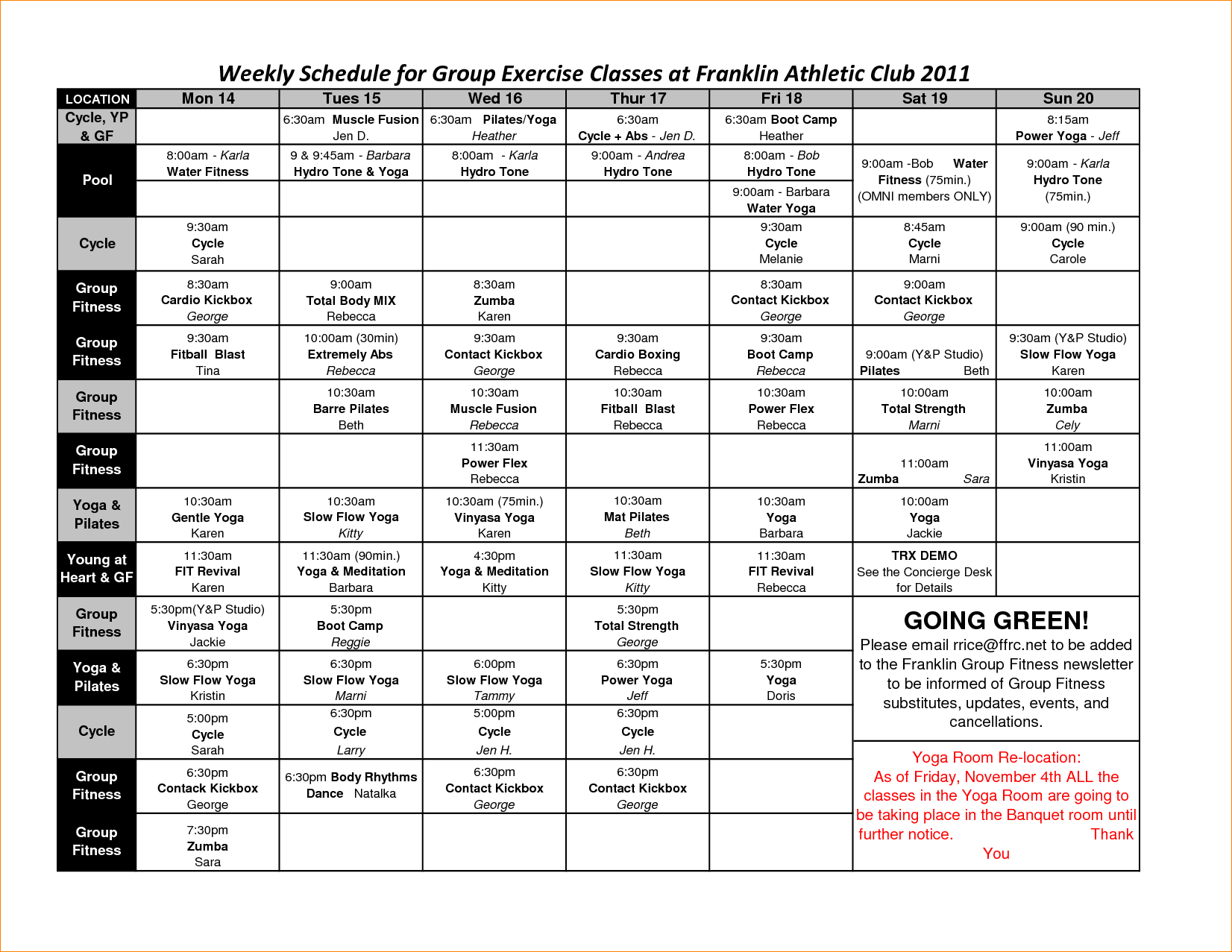 Weekly Schedule For Group Exercise Classes At Franklin Athletic By