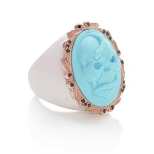 Amedeo NYC Turquoise Intaglio Skull ring