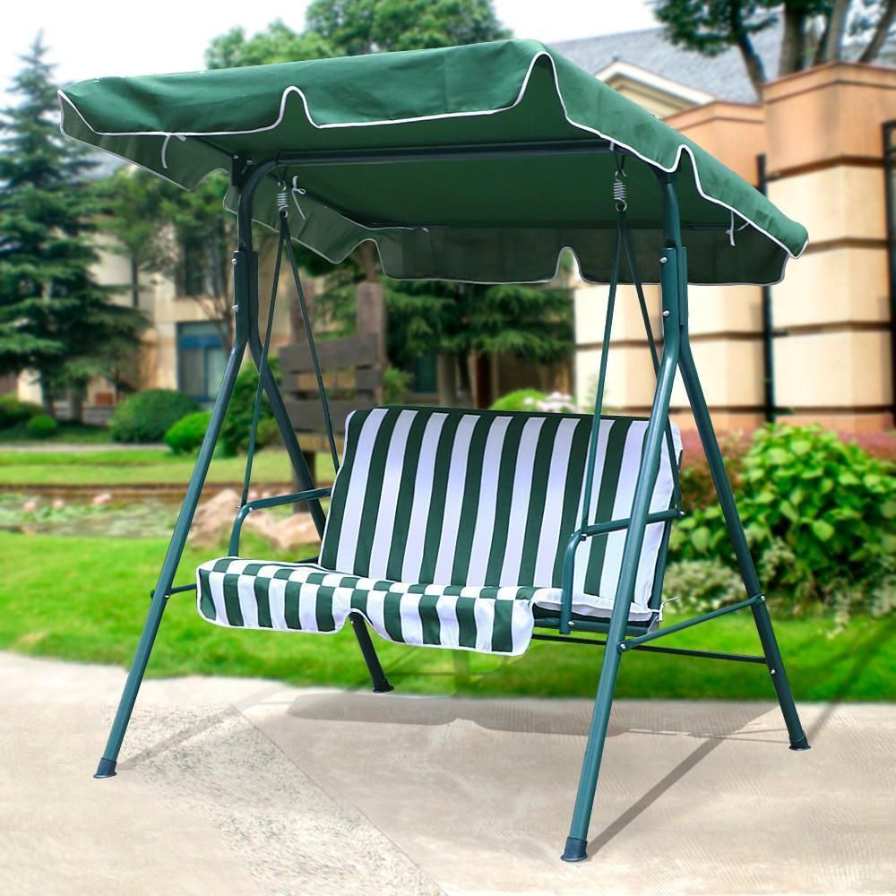 Outdoor Patio Canopy Swing Cushioned Chair Iron 2 Person Yard Furniture Green 615662123501 Ebay Patio Canopy Patio Loveseat Canopy Swing