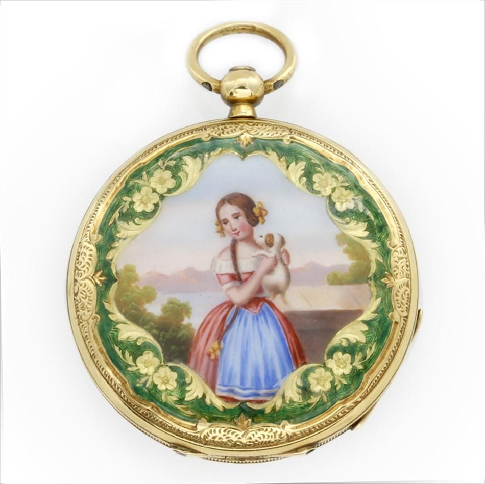 AN ENAMEL FOB WATCH DEPICTING A YOUNG GIRL WITH PUPPY, C1840 - Bentley & Skinner