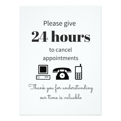 Purchase This  Hour Cancellation Policy Card  Salons Stylists