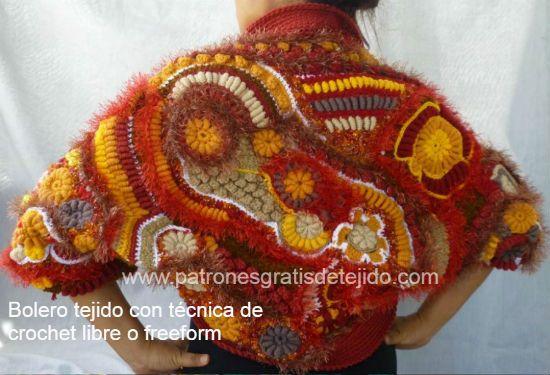 bolero tejido con técnica de crochet libre o scrumbling o freeform ...