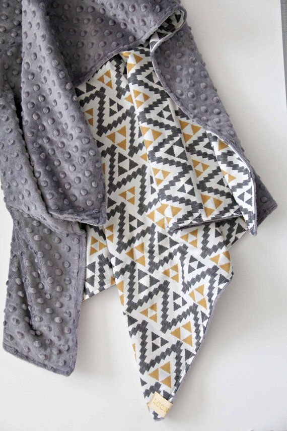 Boy Tribal Triangle Blanket Gray Minky Bedding Nursery by LoonaLou