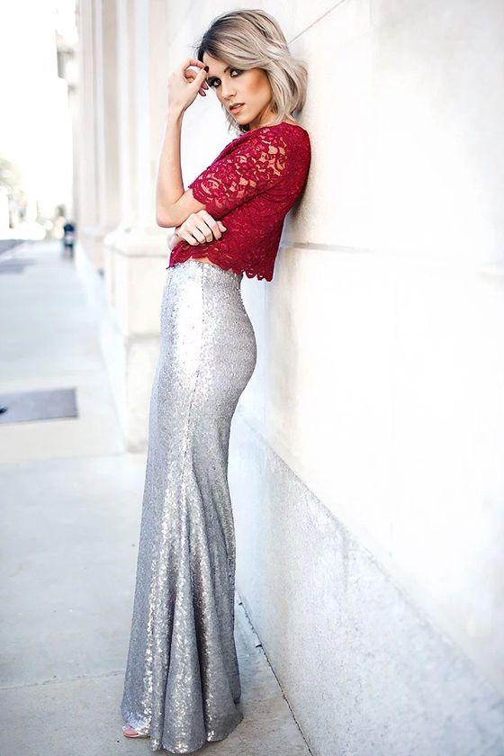 73b41f8872 The Sea Spray Matte Silver Sequin Maxi Skirt is as stunning as it gets, on  land or at sea! Small matte silver sequins ...
