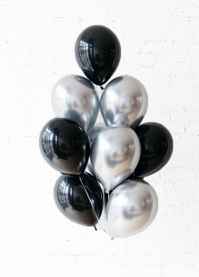Milestone Birthday Balloons Black and Silver Chrome Balloons New Year/'s Eve Party Black and White Balloons Silver Chrome Balloons