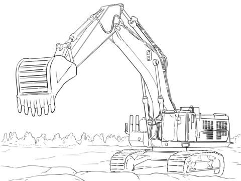 Caterpillar Excavator Coloring Page In 2020 Tractor Coloring Pages Printable Coloring Pages Free Printable Coloring Pages