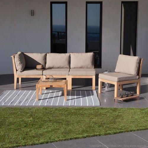 Salon de jardin bas modulable 4 places en teck brut Lovazzi ...