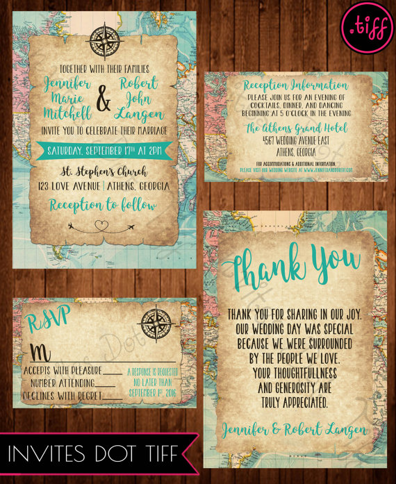 Travel themed wedding thank you card printable pinterest welcome to invites tiff this listing is for only the high resolution 5x7 thank you card if you are interested in coordinating items please see the stopboris Gallery