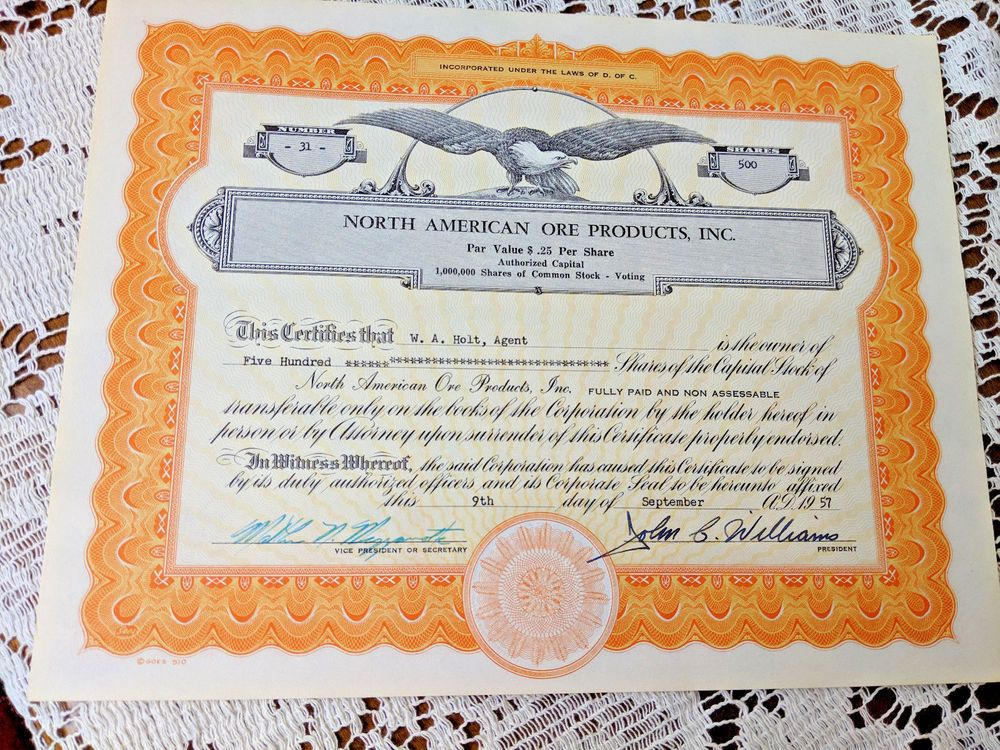 Stock Certificate North American Ore Products 500 Shares 1957 D C Stock Certificates North American American