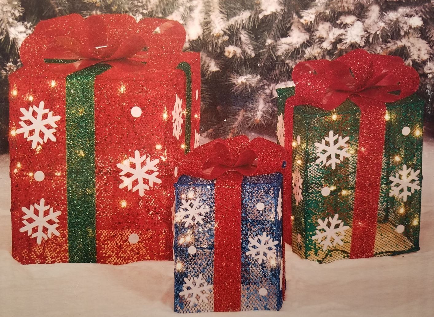light up gift boxes set of 3 outdoor christmas decorations 14 12 and 10 boxes with ribbon and snowflakes 70 lights attached to frame
