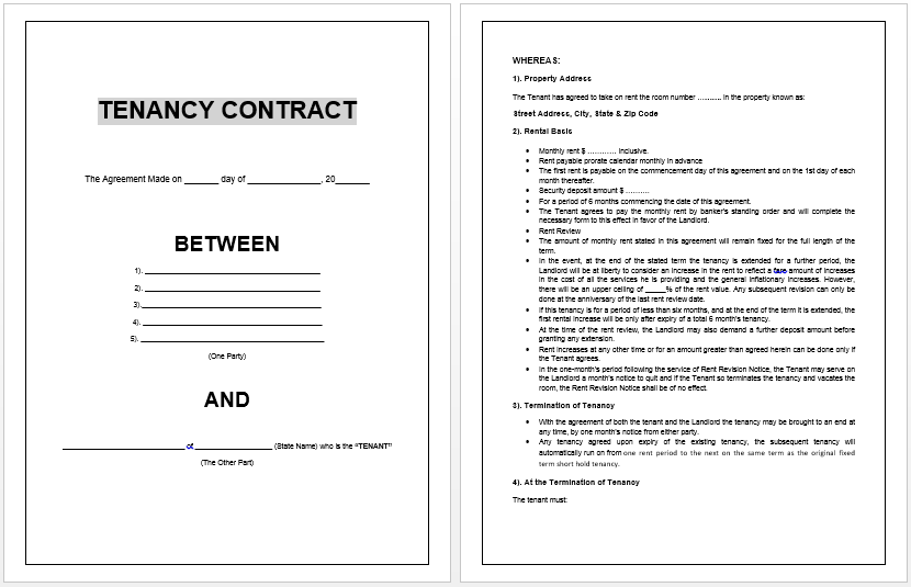 Printable Sample Lease Agreement Template Form Real Estate Forms - Ms word rental agreement template