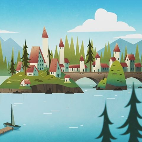 #village #mountain #forest #bay