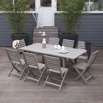 Salon de jardin 8 places Acacia gris : 1 table extensible ...