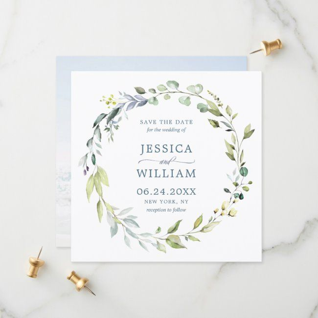 Photo of Elegant watercolor eucalyptus wreath PHOTO wedding save the date | Zazzle.com