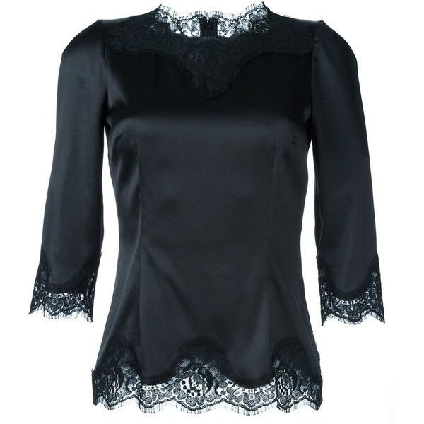 Dolce & Gabbana lace trim fitted blouse (€1.120) ❤ liked on Polyvore featuring tops, blouses, black, 3/4 sleeve tops, fitted tops, scalloped lace top, three quarter sleeve blouses and lace trim blouse