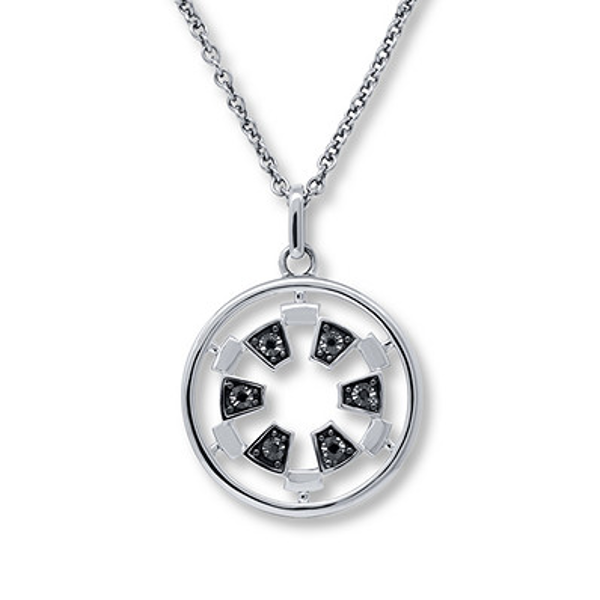 Star Wars Necklace Black Diamond Accents Sterling Silver