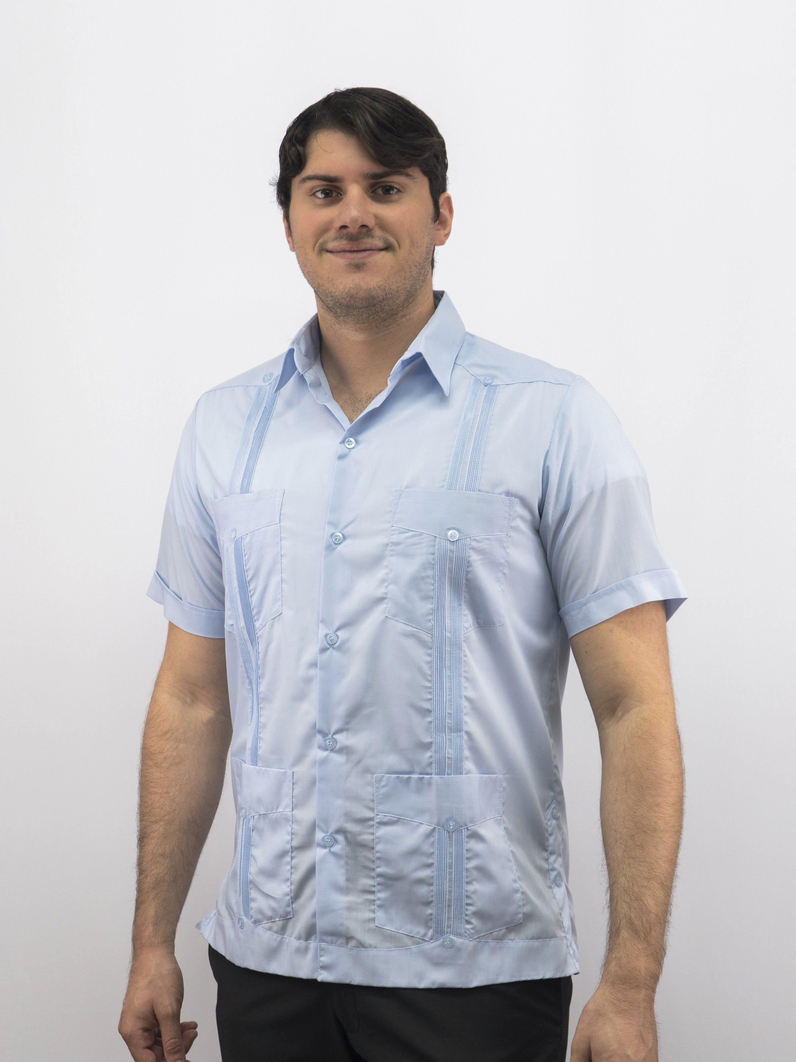 Men S Authentic Cuban Guayabera Shirt 100 Linen Blue D Accord 2263 Cuban Guayabera Guayabera Mexican Wedding Shirt
