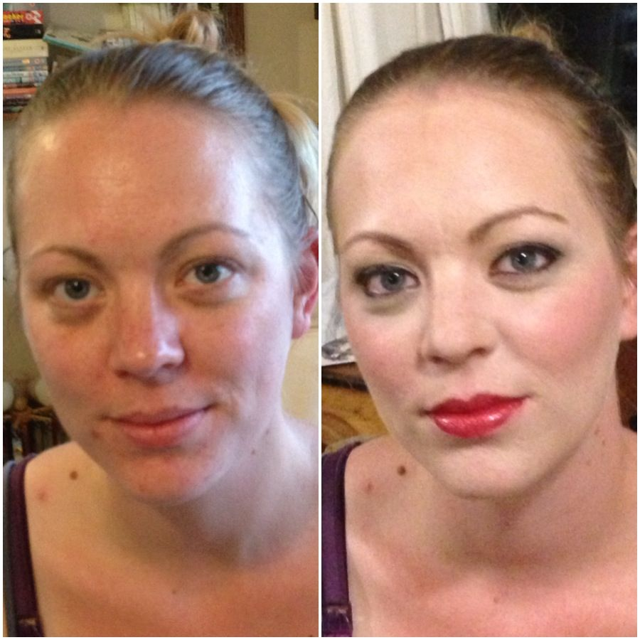 Before and after makeup using Arbonne Cosmetics