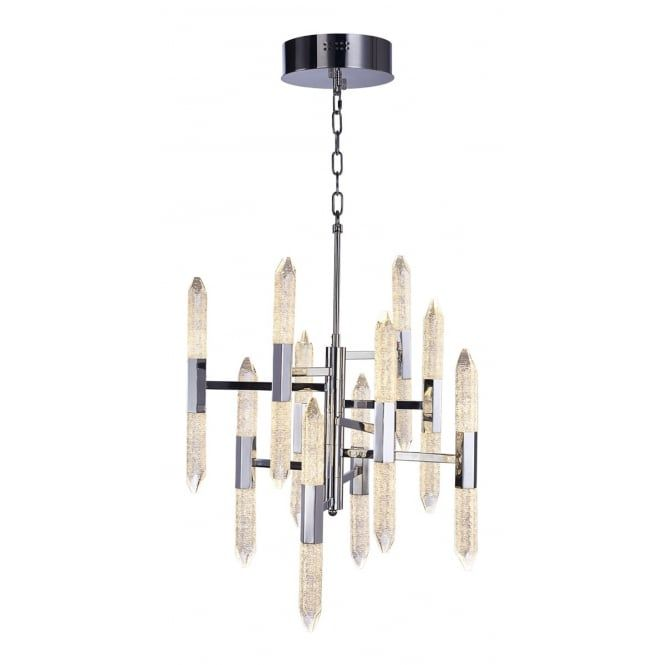 A 20 light chandelier in a polished chrome finish with crystal glasses suspended on a chain suspension the pendant has a 10 arm structure each hol