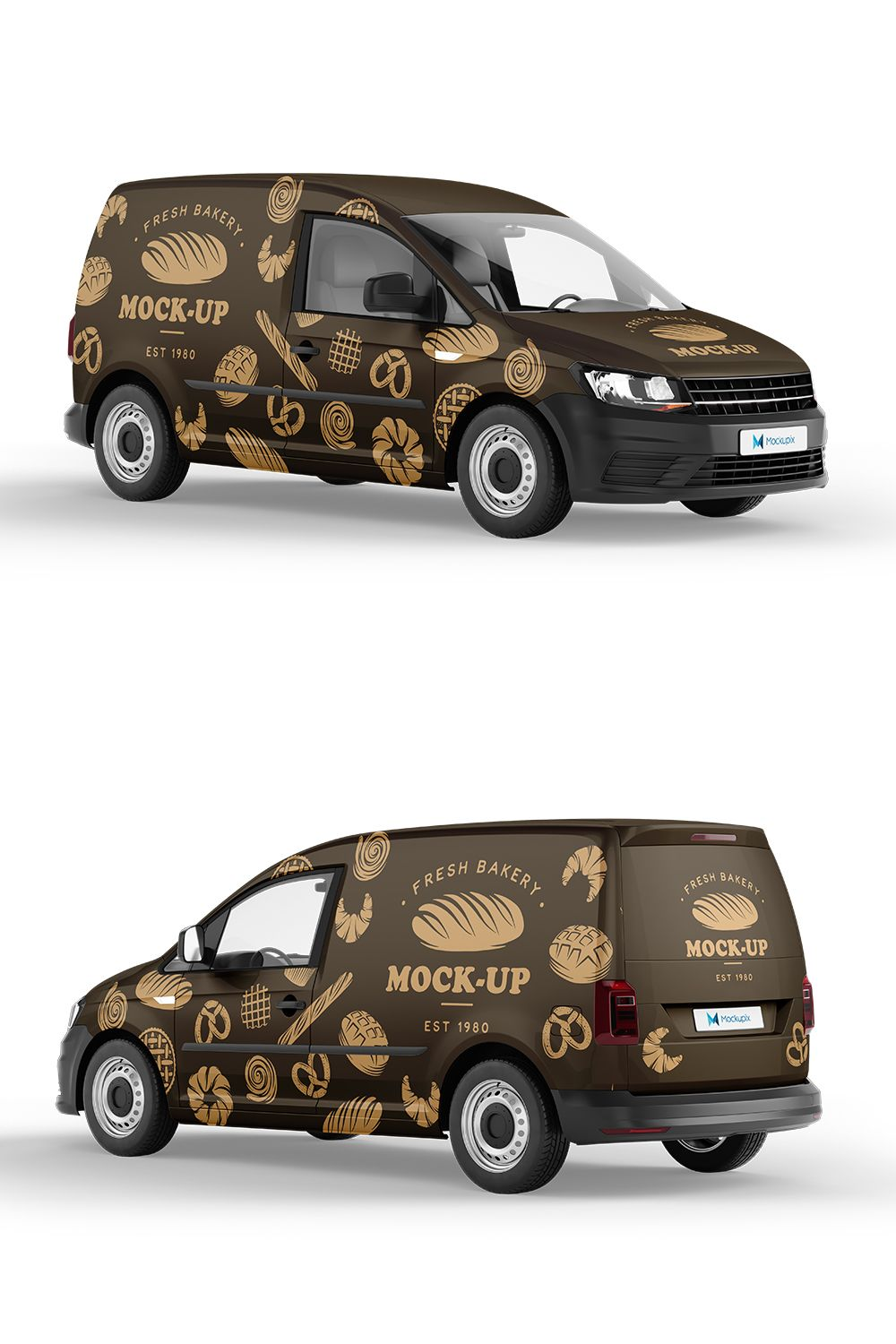Delivery Car mockup. Bakery wrapping example.