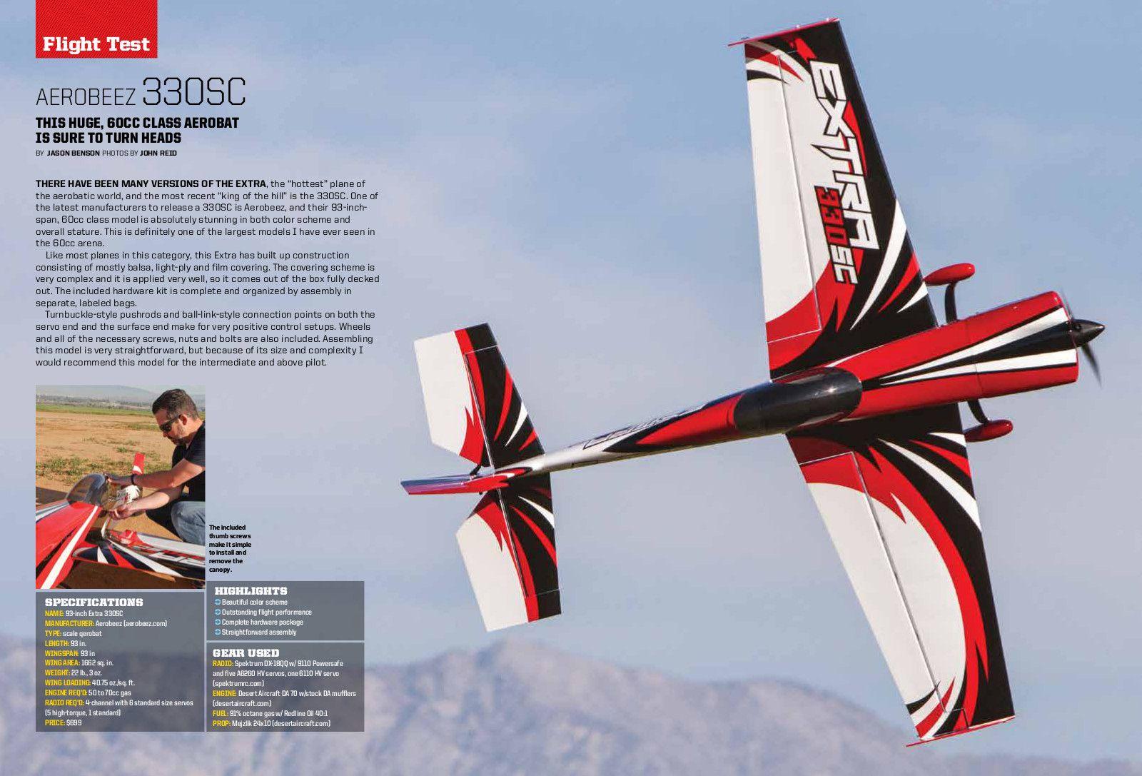 model airplane news review aerobeez 93 inch Extra 330 arf