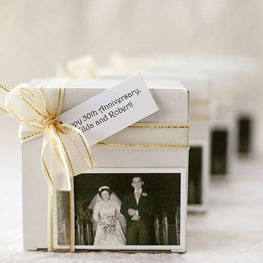 Black And White Photo Box Wedding Anniversary Party Favors 50th