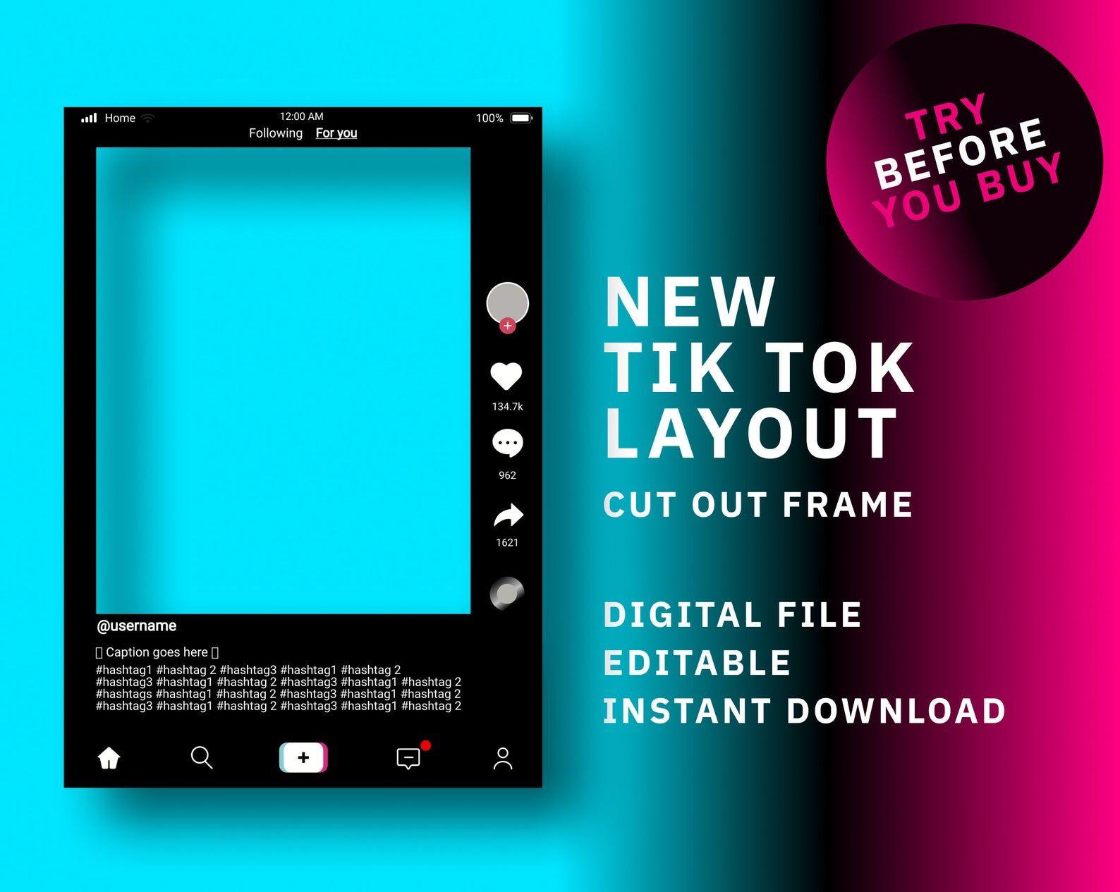 Tik Tok Frame Template Tik Tok Frame Instant Download Tik Etsy In 2021 Photo Booth Frame Frame Props Instagram Frame Template