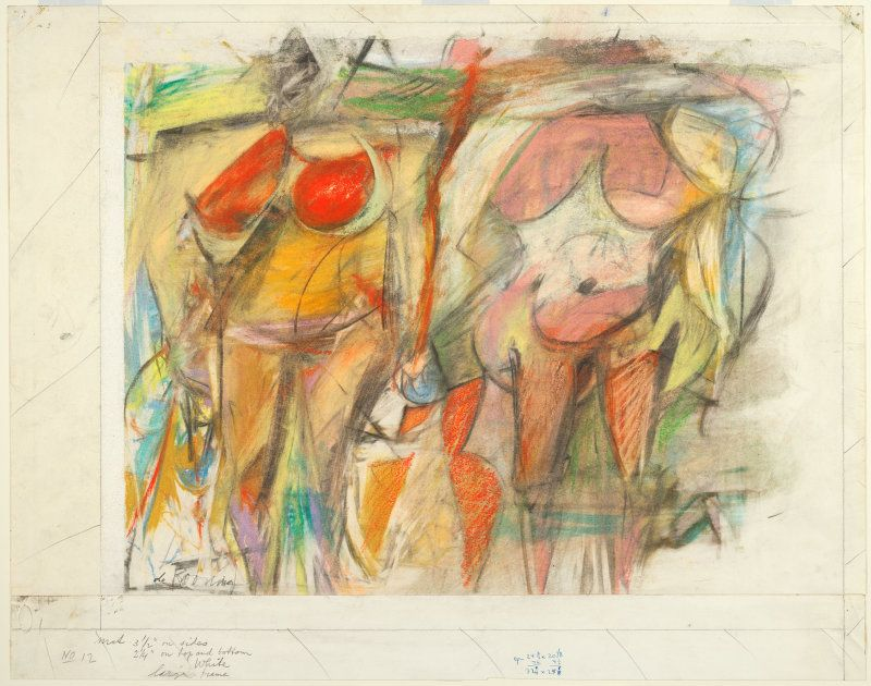 Willem de Kooning, American, born Netherlands, 1904-1997, Two Women's Torsos, 1952, Pastel and charcoal on ivory wove paper. Art Institute of Chicago