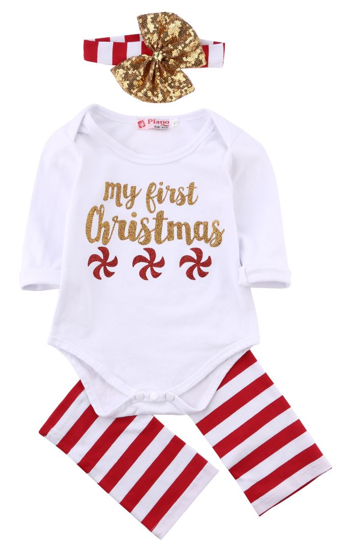 5358694f4 3pcs!!Newborn Kids Baby Boy Girls Christmas Infant Striped Sequin ...