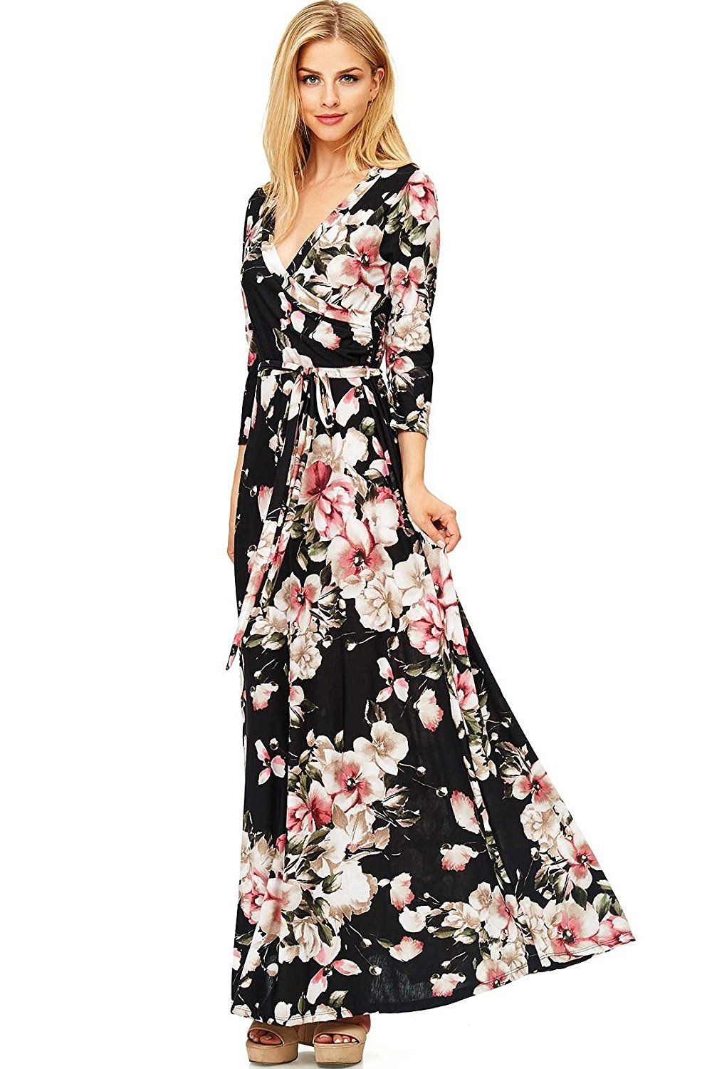 Pink ice womenus sleeve bohemian wrap maxi dress at amazon