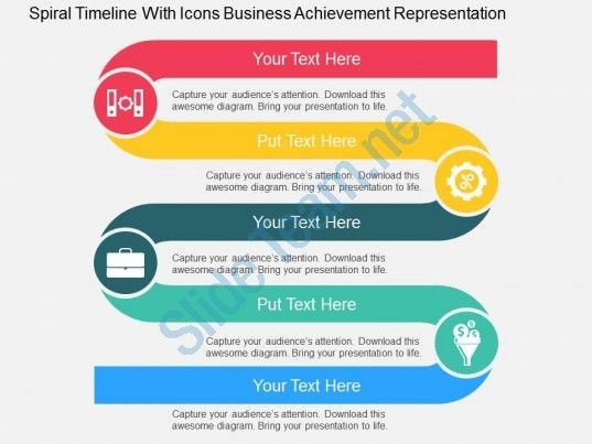 spiral timeline with icons business achievement representation - roadmap powerpoint template