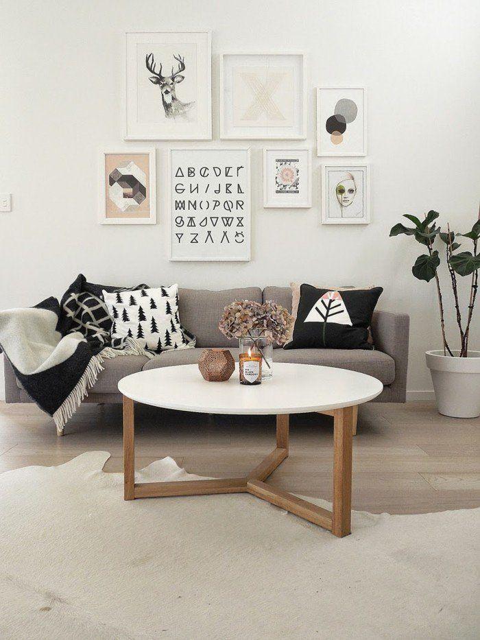 Fantastisch Wohnideen Wohnzimmer Dekokissen Fellteppich Wandbilder Pflanzen