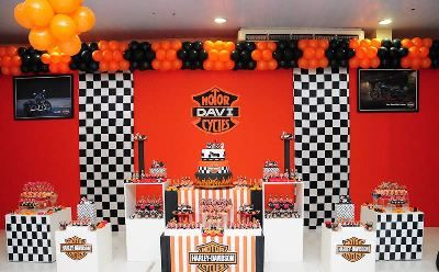 Harley davidson theme party supplies and decoration ideas for Decoration maison harley davidson