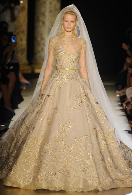 A High Fashion Gold Wedding Dress From Elie Saab Fantasy Wedding Dresses Gold Wedding Gowns Gold Wedding Dress