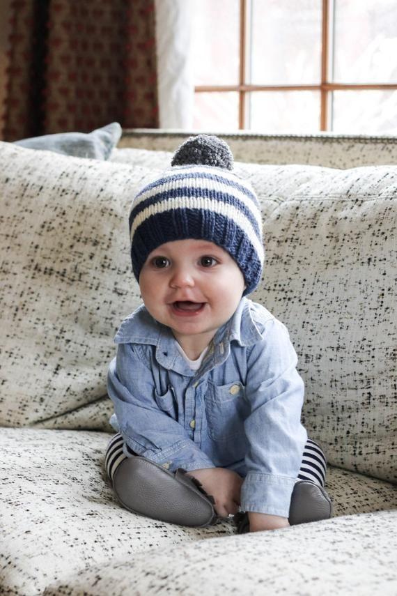 Photo of Baby Boy Beanie, Striped Baby Boy Hat, Newborn Knit Hat for Boy, Infant Winter H…